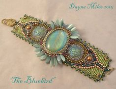 The Bluebird  Bead Embroidery Cuff Bracelet by DaynaMilesDesigns