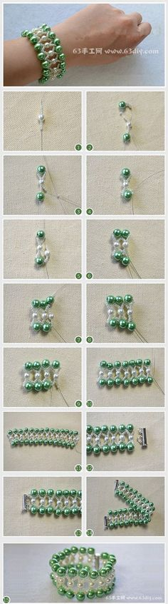 Do you like pearl bracelet designs? This tutorial will show you how to make a green pearl bead bracelet. Bead Jewellery, Wire Jewelry, Jewelry Crafts, Jewelry Bracelets, Handmade Jewelry, Necklaces, Beaded Jewelry Patterns, Bracelet Patterns, Beads And Wire