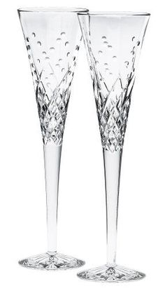 $108.00-$135.00 Waterford Happy Celebrations Crystal Flute Glasses, Set of 2 - Introducing Waterford Wishes - enhancing each toast you make at every special occasion. With cuts designed to represent the bubbles in champagne, these flutes are perfect for any celebratory occasion. Birthdays, weddings or everday, you will enjoy toasting the happy celebrants with the brilliance and refinement reflec ...