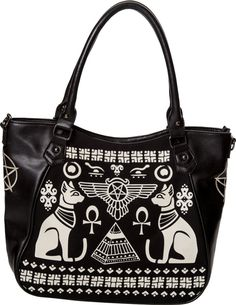 e330b51e40c7 The Anubis Gothic Bag from Banned Apparel deserves to be worshipped. This  alternative bag has a zip fastening and an Egyptian symbols front print.