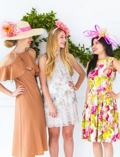 Kentucky Derby Fashion, Kentucky Derby Hats, Derby Outfits, Outfits With Hats, Diy Party Hats, Derby Day, Bridesmaid Dresses, Wedding Dresses, Bridal Shower