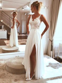 Long prom dress made of white lace tulle, white evening dress - Beach . - Long prom dress made of white lace tulle, white evening dress – Beach Wedding – dress - Lace Beach Wedding Dress, Applique Wedding Dress, Dream Wedding Dresses, Modest Wedding, Wedding White, Backless Wedding, Boho Wedding, Beach Bridal Dresses, Mermaid Wedding