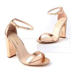 Lulus  Taylor Rose Gold Ankle Strap Heels ($31) ❤ liked on Polyvore featuring shoes, pumps, gold, block heel ankle strap shoes, rubber sole shoes, high heeled footwear, ankle tie shoes and block heel shoes