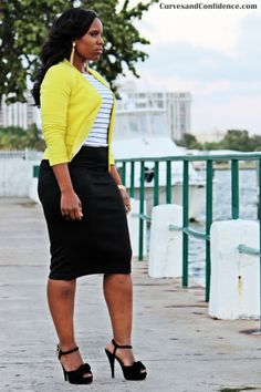 Curves and Confidence | Inspiring Curvy Fashionistas One Outfit At A Time: Black + White +Yellow