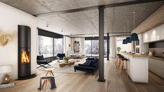 salon scandinave, parquet de bois, cheminée noire, corne de cerf en bois, cuisine ouverte au salon, canapé noir foncé