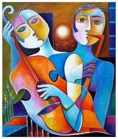 Original Painting Cubism Abstract Acrylic on canvas Night Musicians Marlina Vera Modern Fine Art Gallery Sale Cubist Portraits, Cubist Paintings, Cubist Art, Abstract Art, Original Paintings, Art Visage, Inspiration Artistique, Arte Pop, Fine Art Gallery