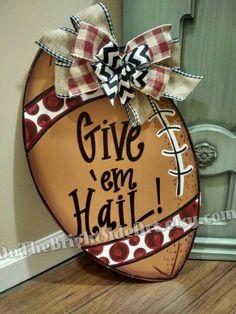 Mississippi State Football Door Hanger by OnTheBrightSideArt on Etsy https://www.etsy.com/listing/251695657/mississippi-state-football-door-hanger