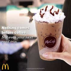 Need a boost before your next trip? Lucky for you, there's a new line of espresso drinks from McCafé. Café-quality from beans to espresso machines featuring new recipes and re-crafted classics, at participating McDonald's. So grab a Caramel Macchiato, Mocha, Cappuccino or Americano, before hitting the open road with your family or friends. Because nothing comes before coffee.