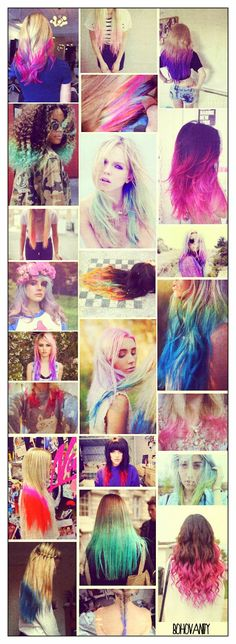 - Boho Vanity -: Trendy Colored Dip Dye Hair Ideas and Products