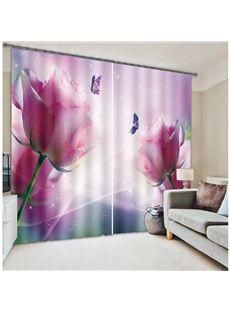 Pretty Pink Flower & Butterfly 3D Blackout Curtain