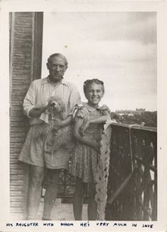 Pablo Picasso and daughter Maya Picasso, 1944