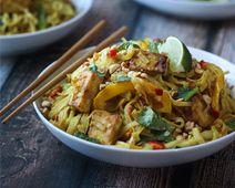 Tofu Curry Noodles with Vegetables. Strict Vegan option: replace honey with alternative sweeteners (maple syrup, agave nectar, coconut nectar).