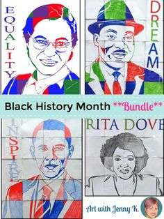 Rosa Parks, Martin Luther King Jr., President Obama and Poet Rita Dove collaborative group posters to celebrate Black History Month with a fun, easy and engaging art lesson for kids. **This set has been updated to include Ruby Bridges**