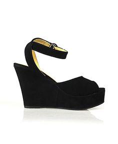 Suede Peep Toe Platform Wedge Sandals from Chicnova