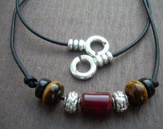Les pères en cuir collier collier de pierre gemme par MalibuCreek