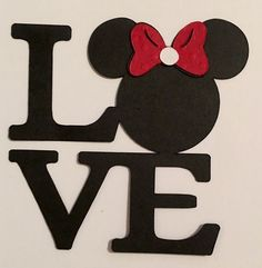 Disney Inspired Minnie Mouse Love Word Title Die Cut Handmade Card Stock | eBay