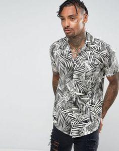 d7c5d1c237b75 New Look Regular Fit Shirt With Revere Collar In Palm Print at asos.com