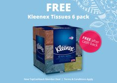 Free 6 Pack Boxes of Kleenex Tissues – After Cash Back