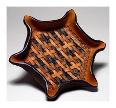 Hexagon Leather Tray, Tooled Brown Ombre Basketweave Valet Tray, Third Anniversary Gift, Made to Ord Third Anniversary, Anniversary Gifts For Him, Tooled Leather, Leather Tooling, Leather Carving, Pancake Holster, Leather Valet Tray, Decorative Borders, Hexagon Shape