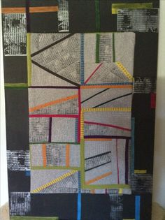 Quilt stitched to stretched canvas, completed July 2017