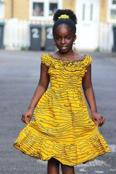 Kitenge Designs for See Over 150 Kitenge Design Photos Ankara Styles For Kids, African Dresses For Kids, Latest African Fashion Dresses, African Print Dresses, African Print Fashion, Yellow Dress Casual, Cute Yellow Dresses, Casual Dresses, Dresses Dresses