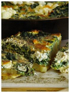 Omelette Baked Spinach and Potatoes, Ksynotyro Velvento and Feta Omelette, Mediterranean Recipes, Quiche, Feta, Spinach, Potatoes, Baking, Breakfast, Kitchens