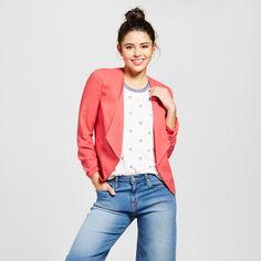 Women's Brushed Linen Ruched Sleeve Blazer Jacket - Xoxo (Juniors') Pink S