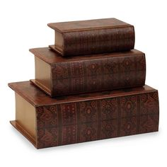 IMAX Nesting Wooden Book Boxes - Set of 3
