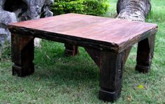 Rustic Square Shaped Teak Wood Coffee Table. Wonder how my sweet husband will feel about another honey-do? :)