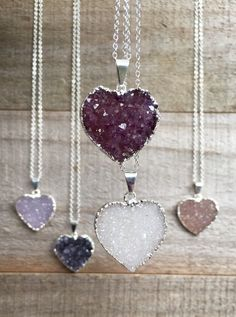 Heart Druzy Necklace Choose Your Heart Pendant Sterling Silver