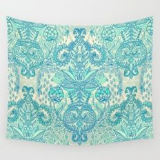 Botanical Geometry - nature pattern in blue, mint green & cream Wall Tapestry