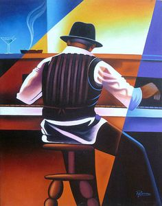 Haitian Art  Canvas Painting Jazz Piano Player  by TropicAccents