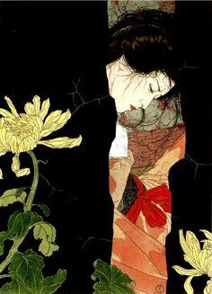 """Black will-o-the-wisp"" - Takato Yamamoto - Japanese Illustration - Heisei Estheticism Art And Illustration, Japanese Illustration, Art Amour, Drawn Art, Kunst Online, Art Asiatique, Art Japonais, Inspiration Art, Japanese Painting"