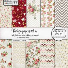 Commercial Use OK Vintage papers pack vol.6 by Tiramisu design