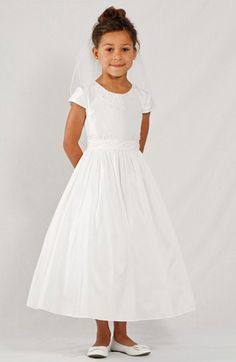 df64b02161b Free shipping and returns on LAUREN MARIE Beaded Taffeta Dress (Little Girls    Big Girls) at Nordstrom.com. Delicate hand beading adorns the neckline  and ...