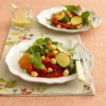 Roast vegetable and chick pea salad. An easy thing to make when you want a heartier salad - maybe to team with cold meat or ham