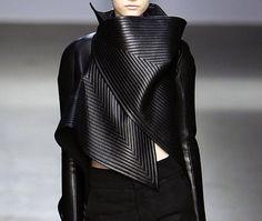 Reamed leather, future fashion, futuristic clothing, fashion show, futuristic look, black clothing, dark fashion, futuristic style