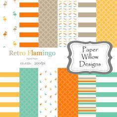 Retro Flamingo-(12)-12x12-Digital Paper-Instant Download-Flamingo-Turquoise-Stripe-Beach-Tan-Orange-Marigold-Diamond by PaperWillowDesigns on Etsy