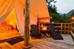 Night Falls on the Deck of the Tents at Clayoquot Wilderness Resort. www.wildretreat.com