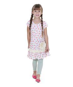 NWT Girls Size 4yrs Aqua Paris Floral Appliqué Shift Dress JELLY the PUG