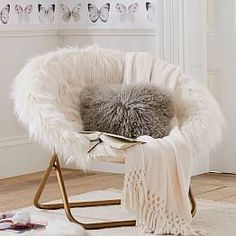 White Fluffy Chair Slipcovers For Chairs Butterfly