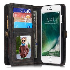 CaseMe 008 iPhone 7 Zipper Wallet Detachable 2 in 1 Retro Flannelette Leather Folio Case Black
