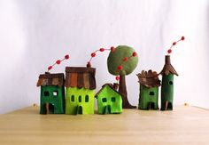 Felt houses with tree Green Village Miniature by Intres on Etsy, $35.00