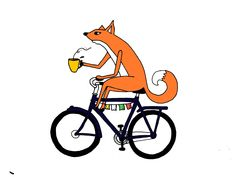 Coffee drinking fox on vintage bicycle. Illustration by Keith Lehman