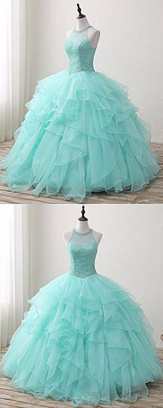 Mint Green Tulle Beaded Sweet 16 Prom Dress dac0ad9b1e1e