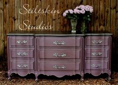 This dresser was beautifully accented with Modern Masters Smoke Metallic Paint | By Stiltskin Studios