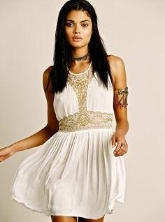 NEW $98 Free People IFP ivory Embellished Beaded Mesh Provence Slip Dress M #IntimatelyFreePeople #beadedslip #versatile