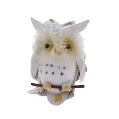Wooden owl on branch Christmas decoration | Christmas decorations | Natural History Museum Online Shop