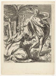 Orazio de Santis | Christus verschijnt als tuinman aan Maria Magdalena, Orazio de Santis, Pompeo Cesura, 1572 | Christus met schop over zijn schouder, neerkijkend op de geknielde Maria Magdalena. Linksachter een groep palmbomen