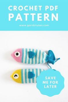 Crochet amigurumi fish pattern   Garnknuten   This cute and easy amigurumi fish is called Steve! Here you'll find the downloadable PDF crochet pattern! #crochet #pattern #amigurumi #fish #pouch Organic Cotton Yarn, Crochet Food, Fish Patterns, Crochet Hook Sizes, Crochet For Beginners, Crochet Patterns Amigurumi, Diy Toys, Stitch Markers, Stuffed Toys Patterns